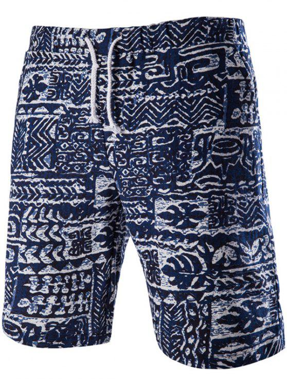 fancy Loose Fit Lace Up Printed Boardshorts - PURPLISH BLUE M