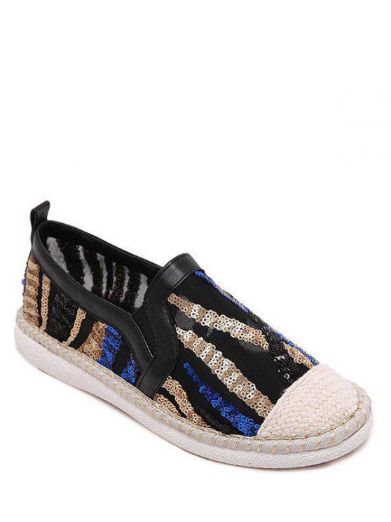 Farbblock Flache Schuhe mit Weberei und Pailletten - Schwarz 40