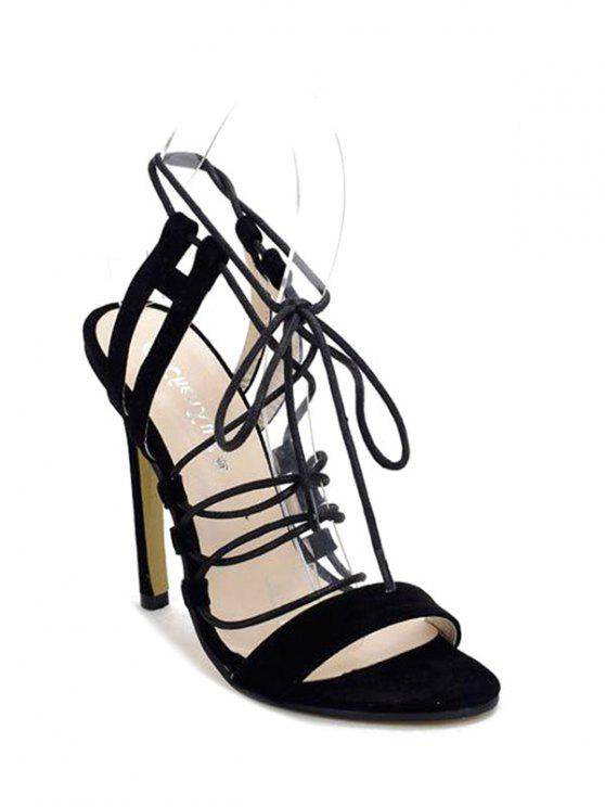 latest Black Stiletto Heel Lace-Up Sandals - BLACK 36