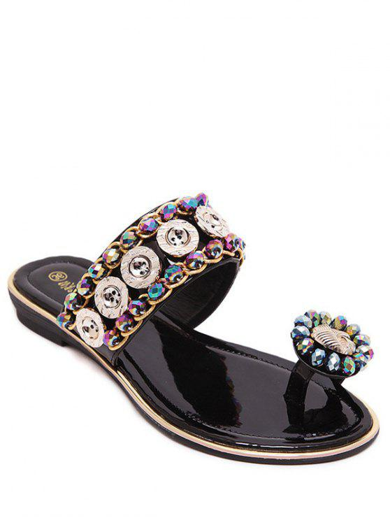 outfits Toe Ring Metal Rhinestone Slippers - BLACK 37