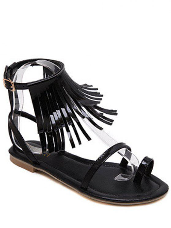 chic Solid Color Fringe Flat Heel Sandals - BLACK 38