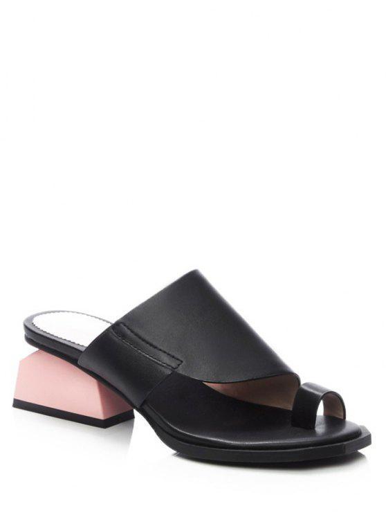 Dedo del pie talón de lazo extraño zapatillas negras - Negro 37