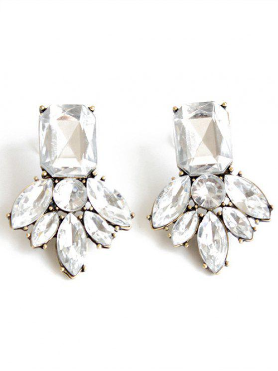 shop Rhinestone Brief Stud Earrings - WHITE