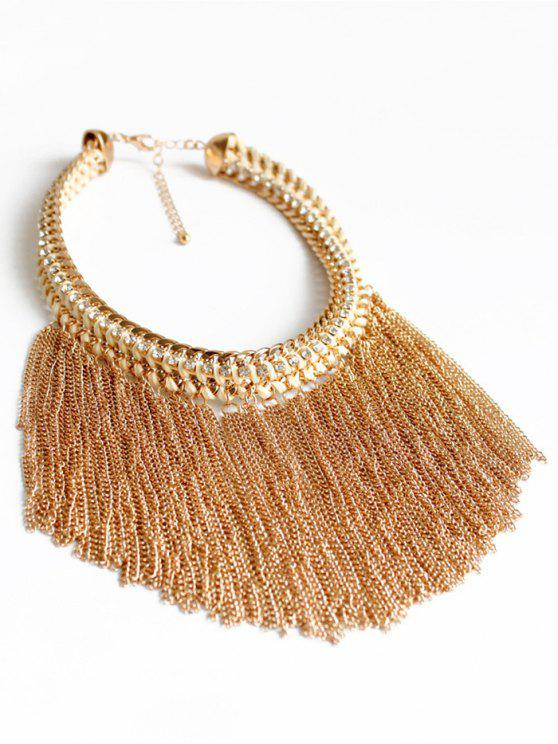 women Alloy Chunky Tassels Statement Necklace - GOLDEN