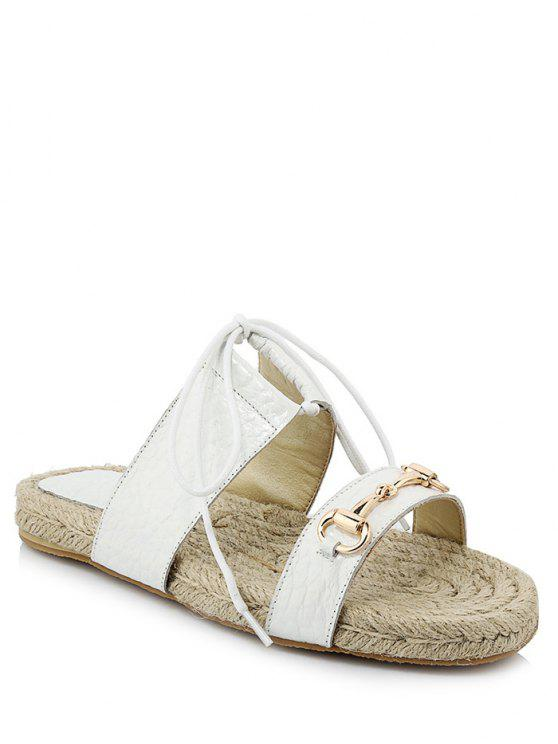 chic Weaving Metal Lace-Up Sandals - WHITE 37