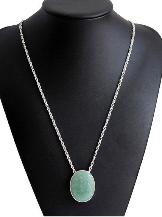 women's Elliptical Faux Jade Long Necklace - SILVER