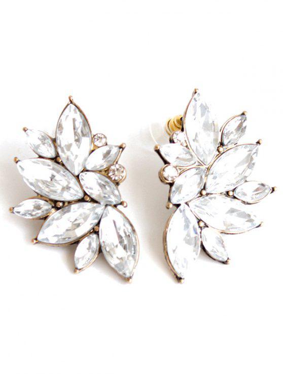 leaf shaped stud corner crystal for little product sweet silver women earrings