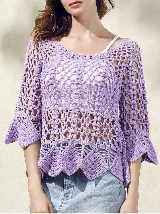 fashion Solid Color Cut Out Round Neck Butterfly Sleeve Sweater - PURPLE ONE SIZE(FIT SIZE XS TO M)