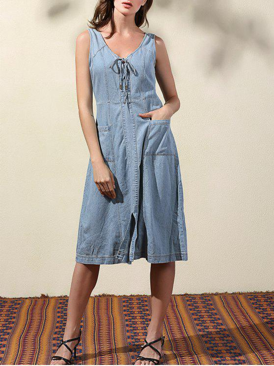 Doble-V para arriba el vestido del dril de algodón del cordón - Azul Claro L