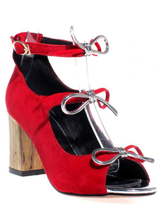 Peep Toe bowknot Chunky sandálias de salto - Vermelho 37