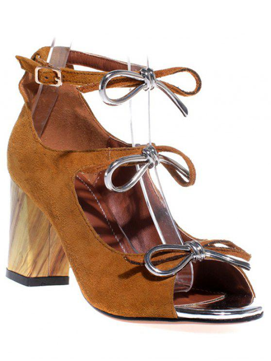 buy Peep Toe Bowknot Chunky Heel Sandals - BROWN 37