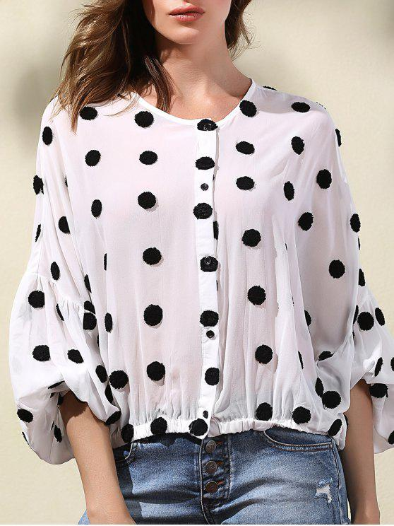 new Flocking Polka Dot Spliced Round Neck Long Sleeve Blouse - WHITE S