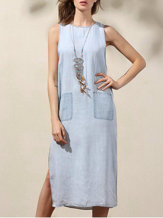 Gota vestido de dril de algodón de la sisa - Azul L