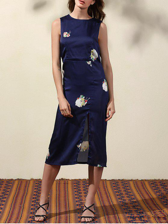 fancy High Slit Blue Sheath Dress - BLUE M