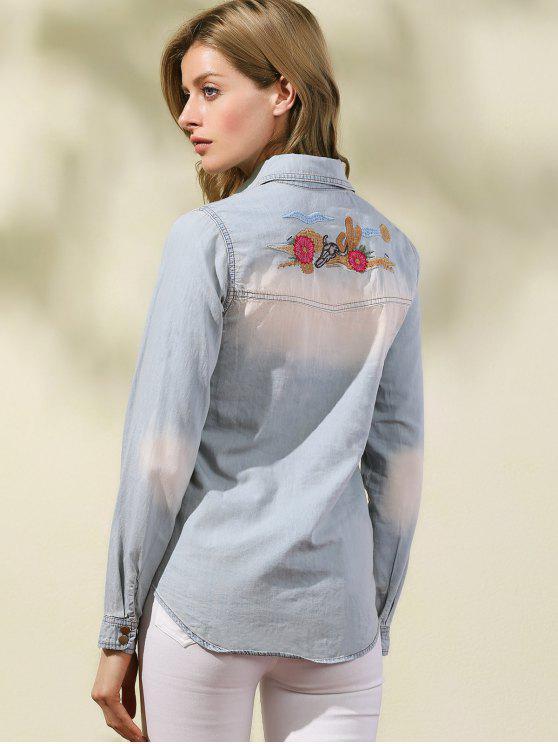 Bordado del dril de algodón Sobrecamisa - Azul Claro S