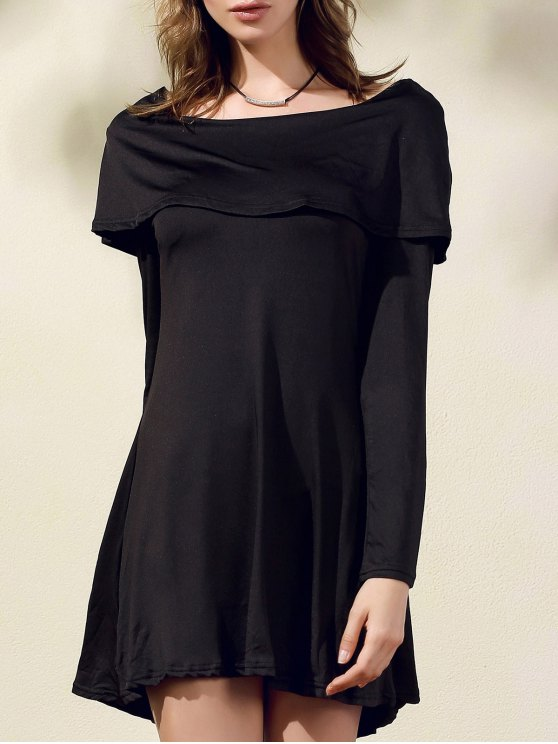 online Black Off The Shoulder Boat Neck Long Sleeve Dress - BLACK L
