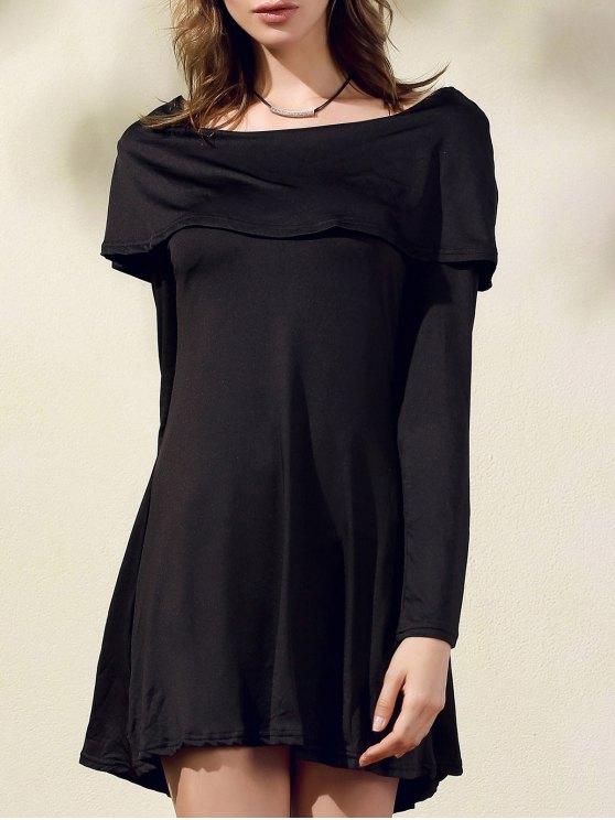 Negro del hombro del cuello del barco vestir de manga larga - Negro M