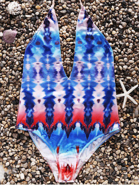 Imprimir espalda abierta halter del traje de baño de una sola pieza - Colormix S