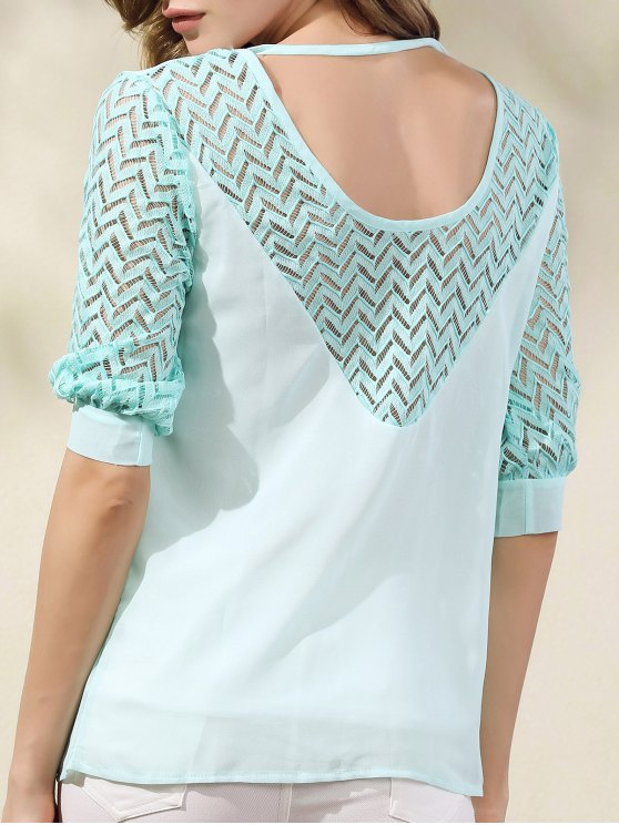 Lace Splicing Round Neck Half Sleeve Chiffon Blouse - LIGHT GREEN L