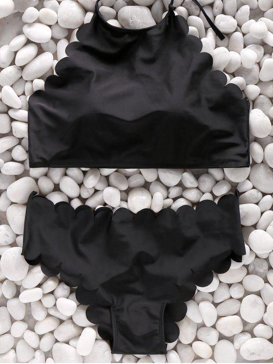 279135a091927 22% OFF  2019 Two Piece High Neck Scalloped Swimsuit In BLACK