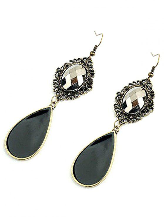 fashion Baroque Style Jewelry Pendant Earrings - BLACKISH GREEN