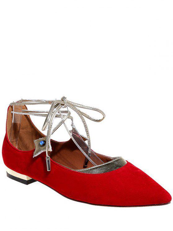 Zapatos planos de punta estrecha con cordones de Flock - Rojo 39
