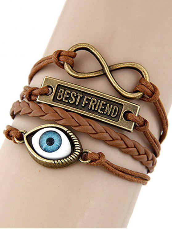 online Infinite Nameplate Eye Layered Bracelet - BROWN