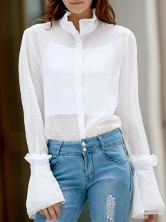 Frilled Neckline See-Through Dotted Shirt - White 2xl