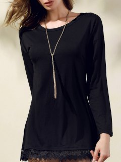 Lacework Splicing Round Collar 3/4 Sleeve Black Dress - Black S