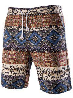 Drawstring Tribal Printed Loose Fit Boardshorts - Blue Xl