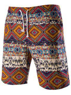 Drawstring Tribal Printed Loose Fit Boardshorts - Red M