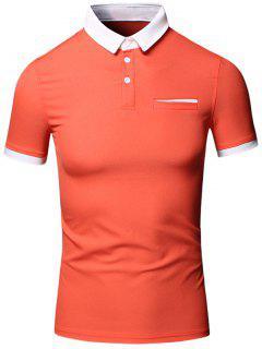 Turn-Down Collar Color Block Edging Design Short Sleeve Cotton+Linen Polo T-Shirt For Men - Jacinth M