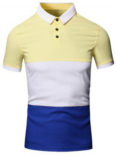 Turn-Down Collar Color Block Splicing Design Short Sleeve Cotton+Linen Polo T-Shirt For Men - Yellow M