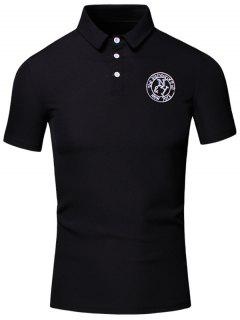 Turn-Down Collar Embroidered Design Short Sleeve Cotton+Linen Polo T-Shirt For Men - Black 2xl