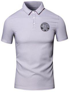 Turn-Down Collar Embroidered Design Short Sleeve Cotton+Linen Polo T-Shirt For Men - Gray Xl