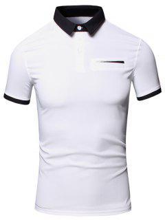 Turn-Down Collar Color Block Edging Design Short Sleeve Cotton+Linen Polo T-Shirt For Men - White Xl