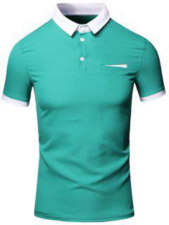 Da Vuelta-abajo Del Bloque Del Color Del Ribete Diseño Algodón De Manga Corta De Lino + Camiseta Del Polo Para Los Hombres - Verde 3xl