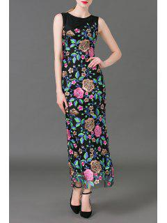 Flower Embroidered Maxi Sleeveless Dress - Black S