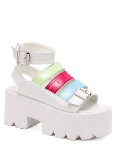 Buckle Color Block Platform Sandals - White 36