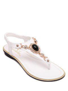 Faux Gem Flat Heel Elastic Sandals - White 36