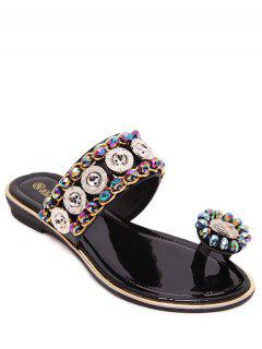 Toe Ring Metal Rhinestone Slippers - Black 36