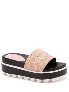 Color Matching Platform Sequined Slippers - Pink 36