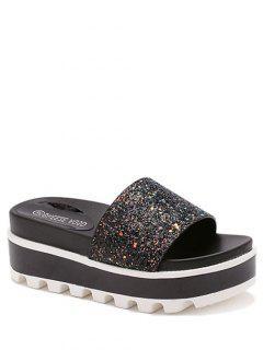 Color Matching Platform Sequined Slippers - Black 36