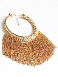 Alloy Chunky Tassels Statement Necklace - Golden