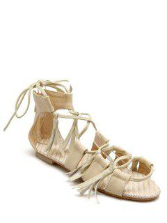Tassels Lace-Up Flat Heel Sandals - Beige 37
