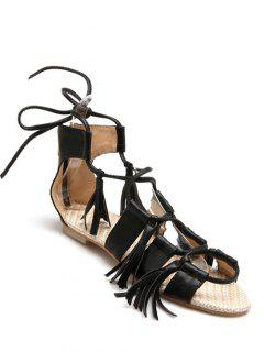 Tassels Lace-Up Flat Heel Sandals - Black 36