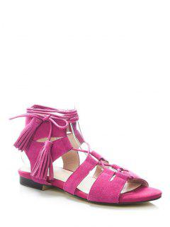 Tassel Flat Heel Lace-Up Sandals - Rose 36