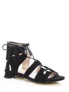 Tassel Flat Heel Lace-Up Sandals - Black 36