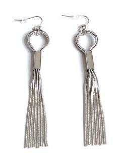 Hollow Out Alloy Tassel Long Earrings - White Golden