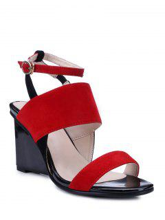 Red Ankle Strap Wedge Heel Sandals - Red 36